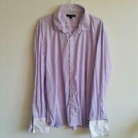 SABA Dress Shirt Silk Cotton XXL Purple White Stripe French Cuffs