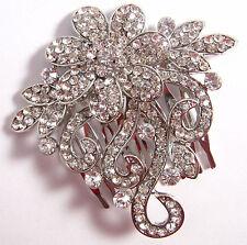Desire Accessories Vintage Style Austrian Crystal Floral Bridal  Hair Comb