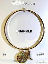 BCBGeneration Charmed Bangle Bracelet Gold Tone w/ 2 charms New 'Protected' 2.5""