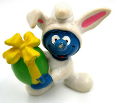 Vintage Easter Smurf Figure in White Bunny Outfit w/ Egg Gift, Peyo Schleich