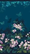 "Northcott Mystic Garden Green Teal Purple Floral Flower Quilt Fabric Panel 24"""
