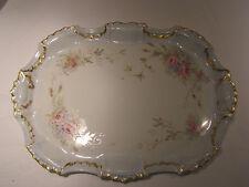 Large Antique Limoges Porcelain Dresser Tray, Roses Forget-me-nots 1891-1897