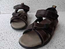 Timberland Brown Leather Sandals Mens Size 8M, 2-strap adjustment, lugged soles