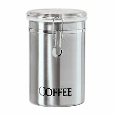 "Oggi 62-Ounce Brushed Stainless Steel ""Coffee"" Airtight Canister With Acrylic Li"