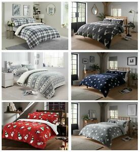 Teddy Duvet Cover Set Soft Printed Stars Stag Quilt Sets Warm Winter Bedding LW