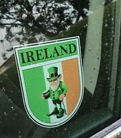 Ireland Irish Tri Colours Flag Shield Shape Internal Car Window Sticker Decal