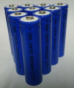 10 batterie pila ricaricabile a litio 3,7 v. 8800 mha / 35 grammi