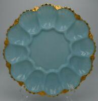 Vintage Fire King Blue Delphite Deviled Egg Plate Tray w/ Gold Gilt