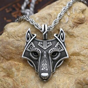 Vintage Wolf Head Pendant Necklace Men Viking Stainless Steel Rope Chain