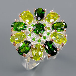 Chrome Diopside Ring Silver 925 Sterling Beautiful Design Size 7.75 /R141032