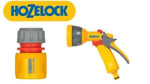 HOZELOCK 5 DIAL WATER SPRAY GUN WITH FREE QUICK CONNECTION HOSE PIPE ATTACHMENT