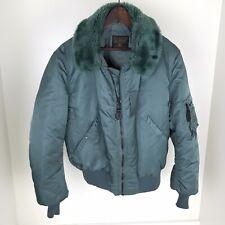 Vtg ALPHA INDUSTRIES B 15 Jacket Men's Size Medium Teal Green Bomber