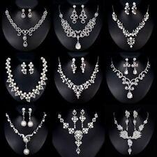 Fashion Crystal Pearl Charm Necklace Earrings Women Bridal Wedding Jewellery Set