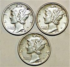 1943 Pds Set of three Mercury Dimes circulated 90% Silver Xf + Extra Fine
