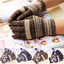 New Fashion Men Warm Casual Knit/Wool Winter Gloves Solid/Striped Gray One Size