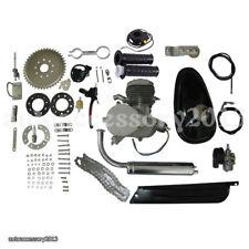 Silver 2 Stroke 80cc Gas Bike Engine Motor Motorized Bicycle Engine Chrome pipe
