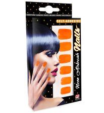 Neon Orange Airbrush Stick On False Fake Nails Set Of 12 Self Adhesive