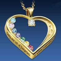 Fashion Gold Love Heart Footprints Crystal Pendant Necklace Women Jewelry