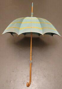 Antique Green And Gold Stripe Umbrella Parasol Wood Handle NO RESERVE AUCTION