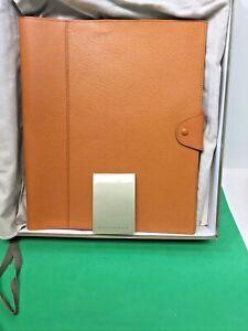 Vtg LEVENGER Tan Leather 2 Compartment Document Portfolio w/ Snap Closure in Box