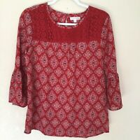 Downeast Womens Red Paisley Boho Peasant 3/4 Sleeve Lace Detail Blouse Small