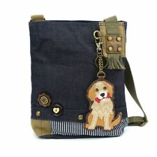 New Chala Patch Crossbody Messenger  Bag  Denim Navy Blue Dog GOLDEN RETRIEVER