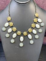 "Vintage Gold  Tone Yellow Pastel Shades Statement Necklace 18""~ Ladies Gift"