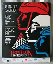 1991 National City Corporation Triathlon Cleveland Ohio Poster and Pin
