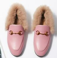 Womens Real Leather Rabbit Fur Lined Flat Casual Shoes Loafers Slip on Slippers