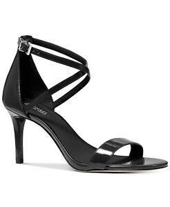 MICHAEL Michael Kors Ava Mid-Heel Dress Sandal Size 10M Black Patent Leather