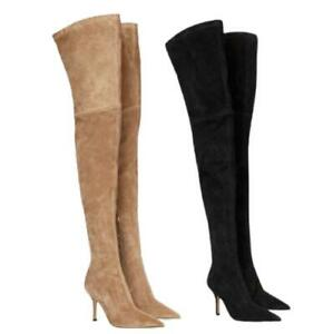 46 47 48 Pointy Toe Stiletto Heel Over The Knee Thigh High Dress Women's Boots