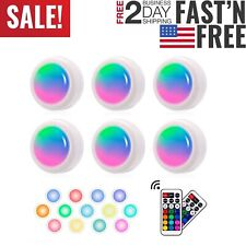 6 Pack Led Wireless Puck Light Remote Control Multi Color Under Cabinet Lights