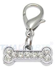 5 Stück Strassanhänger Knochen klein #7 Strass Schmuck Halsband Anhänger Hund