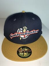 New Era Omaha Golden Spikes MILB Fitted Gold & Black Hat NWT Storm Chasers 7 3/8