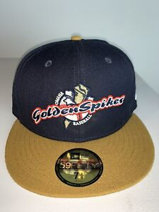 New Era Omaha Golden Spikes MILB Fitted Gold & Black Hat NWT Storm Chasers 7 1/2