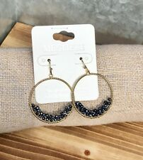 Faceted Beads Round Open Hoop Earrings- Gold