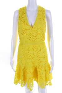 Alice + Olivia Womens Lace Sleeveless V Neck A Line Dress Yellow Size 6