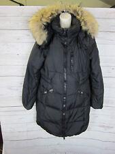 Authentic Coach Women's Black Down Coat Hooded w/ Raccoon Collar Size L