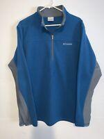 Columbia Mens XL Blue/Silver Long Sleeve Fleece 1/4 Zip Polo