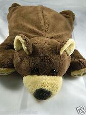 "19"" Woolrich Kids Brown Bear Microbead Plush Laying Stuffed Animal Pillow Toy"