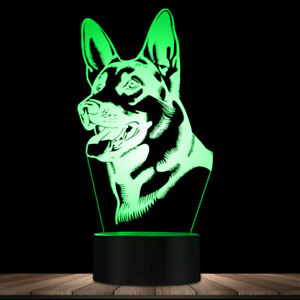 DC5V 7 Color 3D German Shepherd Dog Night Light LED Desk Lamp Room Decor Gift