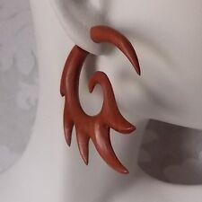 Pair of Tribal Fake Gauge Earrings Organic Wood Split Expander Tattoo Jewelry