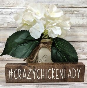 Crazy Chicken Lady Wood Sign #crazychickenlady, Hashtag Sign, Chicken Humor