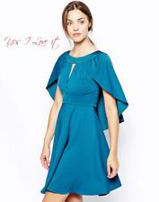 Traffic People Miss Marple Cape Dress in Lake Green Small UK8 EU36 US4 RRP£76