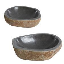 Waschbecken Waschtisch Waschschale aus Naturstein Flussstein ca. 40-50 cm Beige