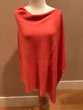 CASHMERE Fine Wool SALMON CORAL Poncho Wrap Topper One Size NWT