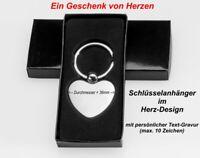 Geschenk silberfarbener Schlüsselanhänger HERZ mit Gravur nur 12,95 EUR