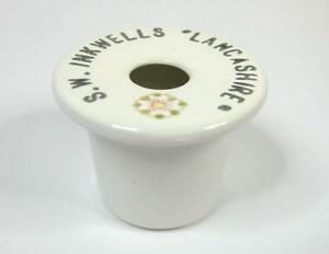 """China school desk inkwell ink pot liner insert With Advertisement """"LANCASHIRE"""""""