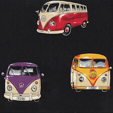 Kombi Vans Volkswagen VW Combi Car Campervans Camper Black Quilt Fabric FQ New