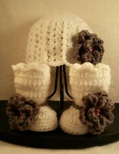 NEW Newborn Baby Girl Flower Hat and Booties Crochet Infant Photo Prop Gift